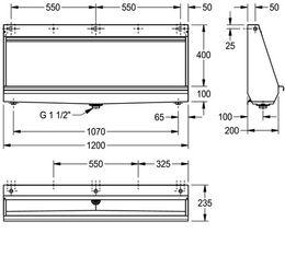 Franke Reihenurinal CMPX551 zur Wandmontage aus Chromnickelstahl – Bild 3
