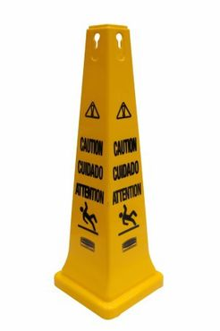 RUBBERMAID safety cones made of polyethylene in yellow