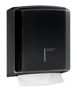 Mediclinics lockable steel paper towel dispenser black for surface mounting – Bild 1