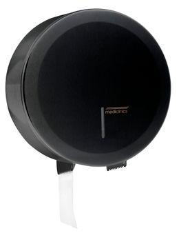 Mediclinics schwarzer Großrollenspender abschließbar MIDI aus Stahl Wandmontage – Bild 1