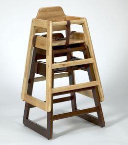Stapelbare Kinder Hochstuhl Holz - in Natur und Walnuss – Bild 2