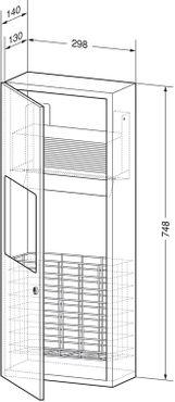 Wagner-EWAR Kombination Papierhandtuchspender 250Blatt mit Abfallbehälter 7l WP612 Edelstahl für Unterputzmontage – Bild 2