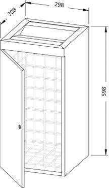 Wagner-EWAR Abfallbehälter 36l + Klappe WP180 Edelstahl für Aufputzmontage – Bild 2