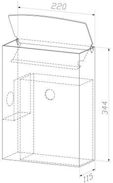 Wagner-EWAR Hygiene-Abfallbehälter+Schleuse 5l WP177-1 Edelstahl für Aufputzmontage – Bild 2