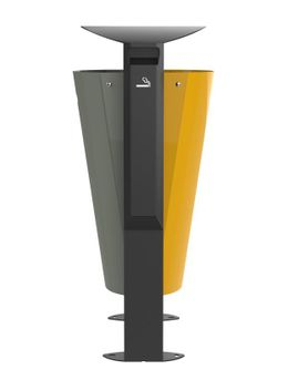 Rossignol Arkea free standing bin 2 x 60L made of steel with 3L ashtray in 3 colours – Bild 1