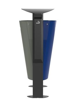 Rossignol Arkea free standing bin 2 x 60L made of steel with 3L ashtray in 3 colours – Bild 2
