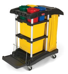 Microfibre cleaning cart, Rubbermaid black