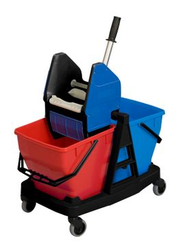 Sani Duo with press, Rubbermaid blue, red, black