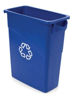 Slim Jim mit Griffe 60 Liter, Rubbermaid Blau, Recyclingsymbol