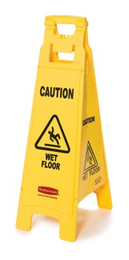 4-Sided warning sign, Rubbermaid yellow