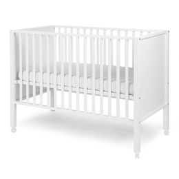 Childhome Cot Ref 22 Closed Beech White 60X120 + Wheels