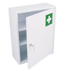 Medicine cupboard made of metal with one door for wall mount, colour White – Bild 1