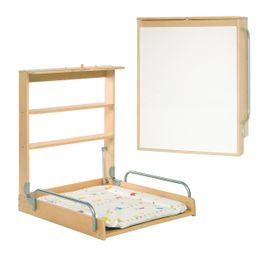 "Design Wall-changing table made of wood + ""Woodland Marriage"" mat - vertical – Bild 1"