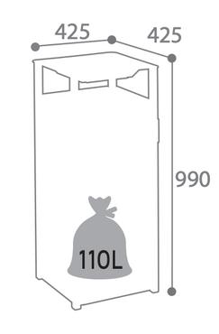 Cybel gelochter Abfallbehälter 110L mit Ascher zum Aufstellen oder zum Befestigen Rossignol – Bild 5