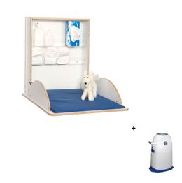 Babychanger Wood Pro white + Nappy Bucket Small set