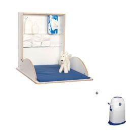 Holzwickeltisch Klappbar Pro Weiß + Windeleimer klein im Set