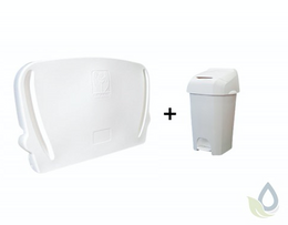 Horizontal folding changing table for wall mounting and white 60L diaper pail in SET