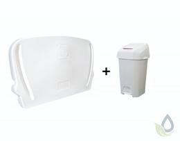 Horizontale inklapbare commode voor wandmontage en wit 60L luieremmer in SET