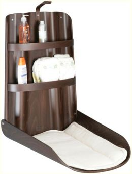 Set - Wooden Babystation Nathi + Diaper dispenser + 2x Mattress - Design Walnut – Bild 2