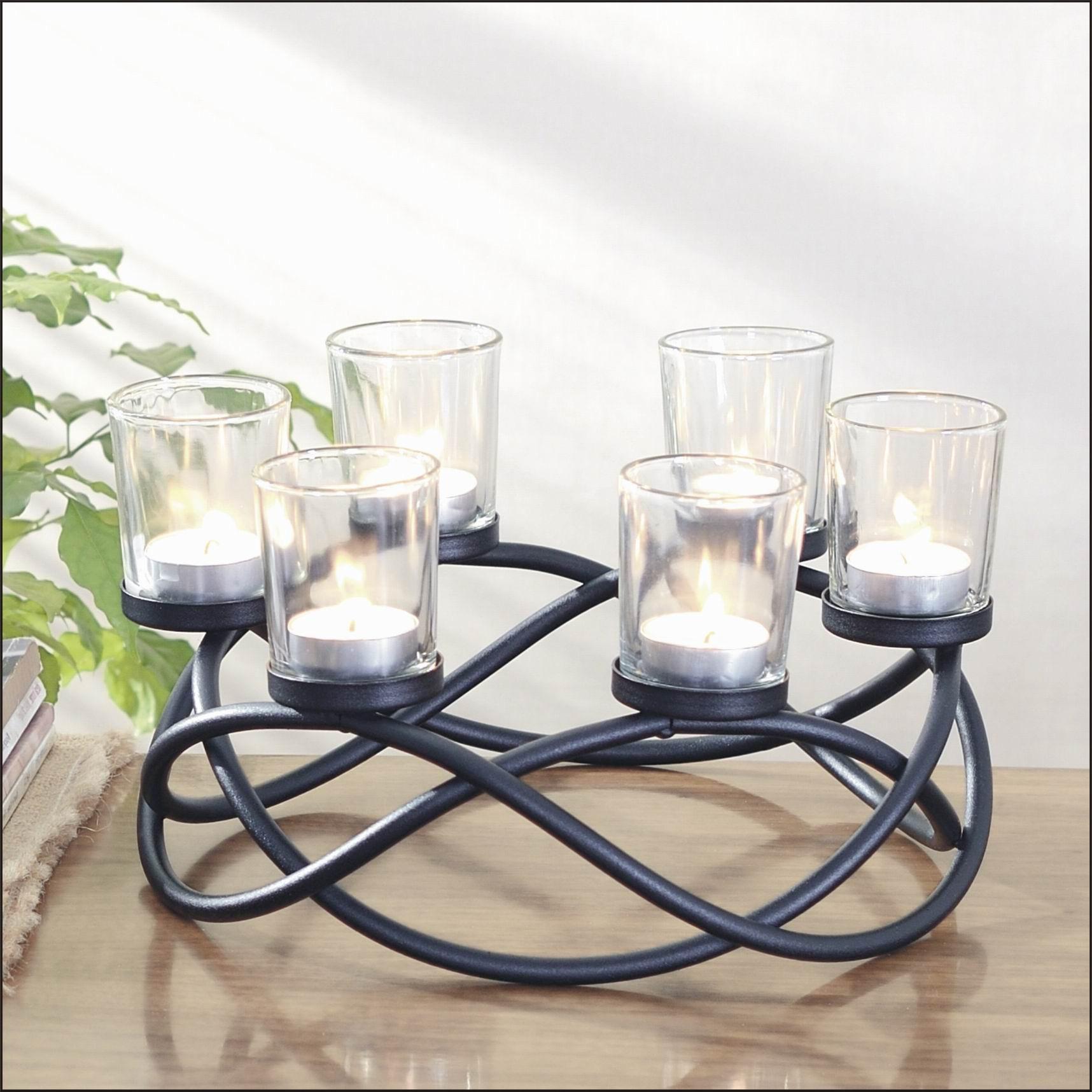 Kerzenhalter Aus Metall Und Glas F R 6 Teelichter Wohnen