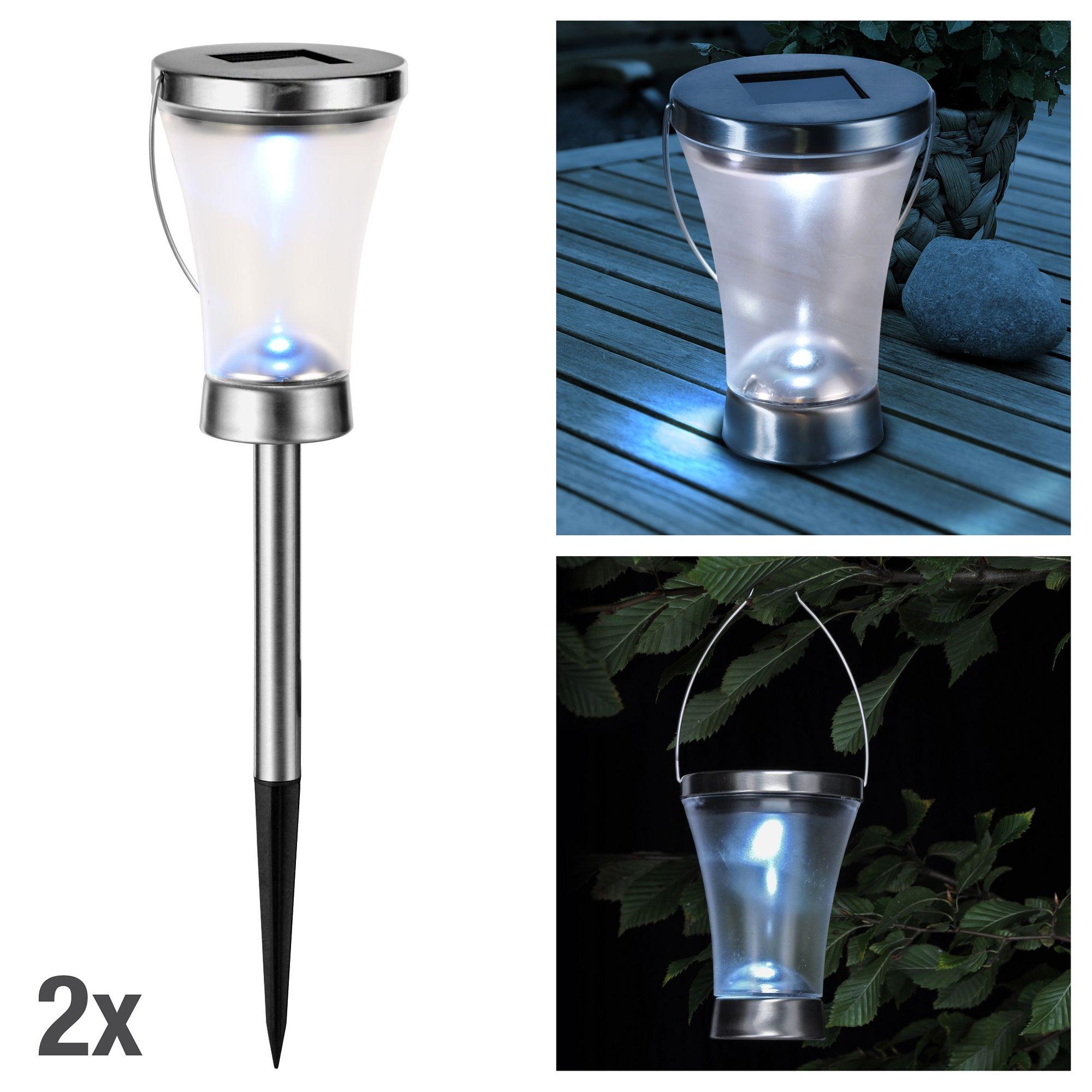 2 x led solar lampe mit 3 anwendungsm glichkeiten wegeleuchte tischleuchte h ngeleuchte. Black Bedroom Furniture Sets. Home Design Ideas
