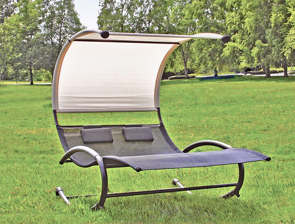doppel sonnenliege doppelliege gartenliege hollywoodschaukel liege garten dach ebay. Black Bedroom Furniture Sets. Home Design Ideas