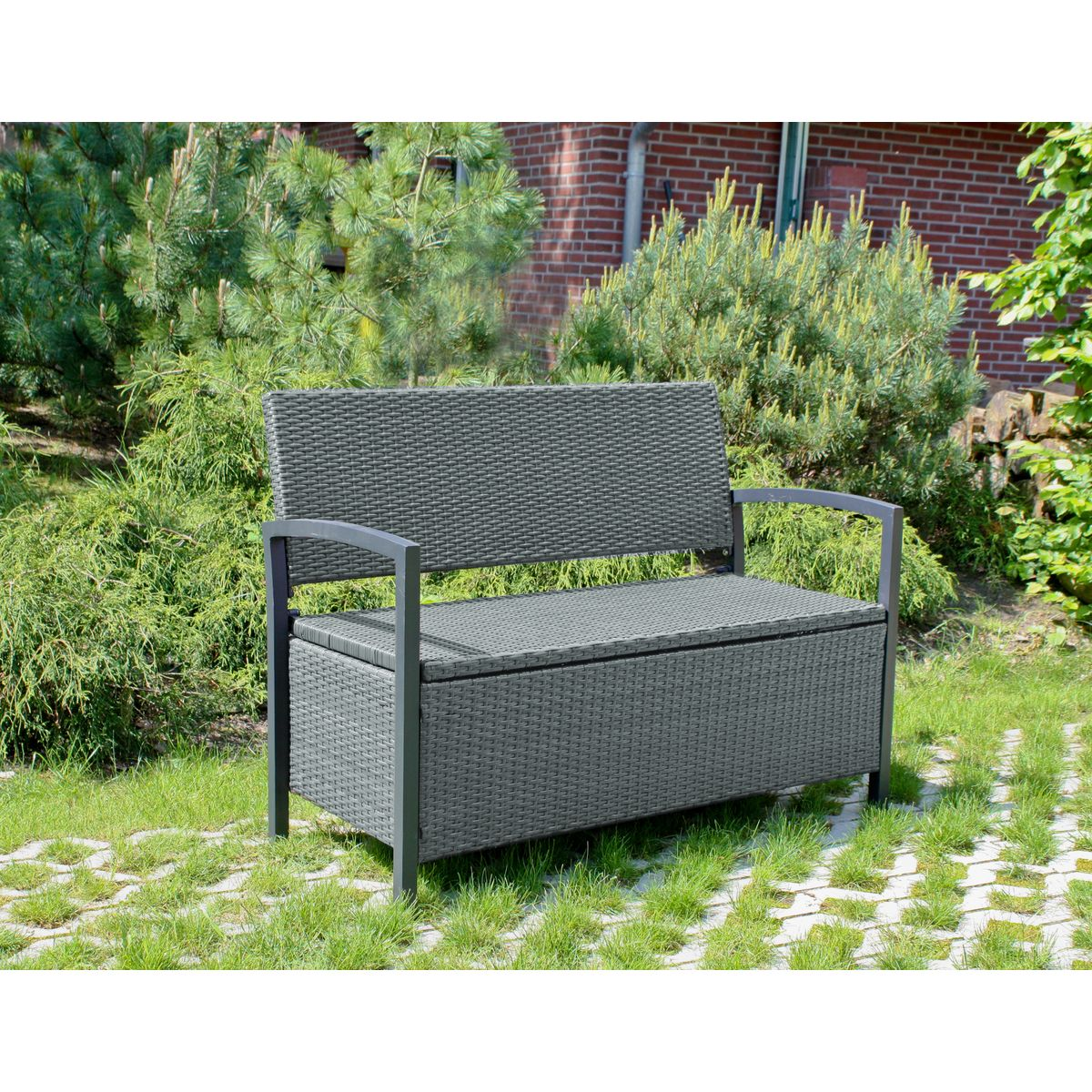 gartenbank mit truhe truhenbank bank parkbank auflagenbox. Black Bedroom Furniture Sets. Home Design Ideas