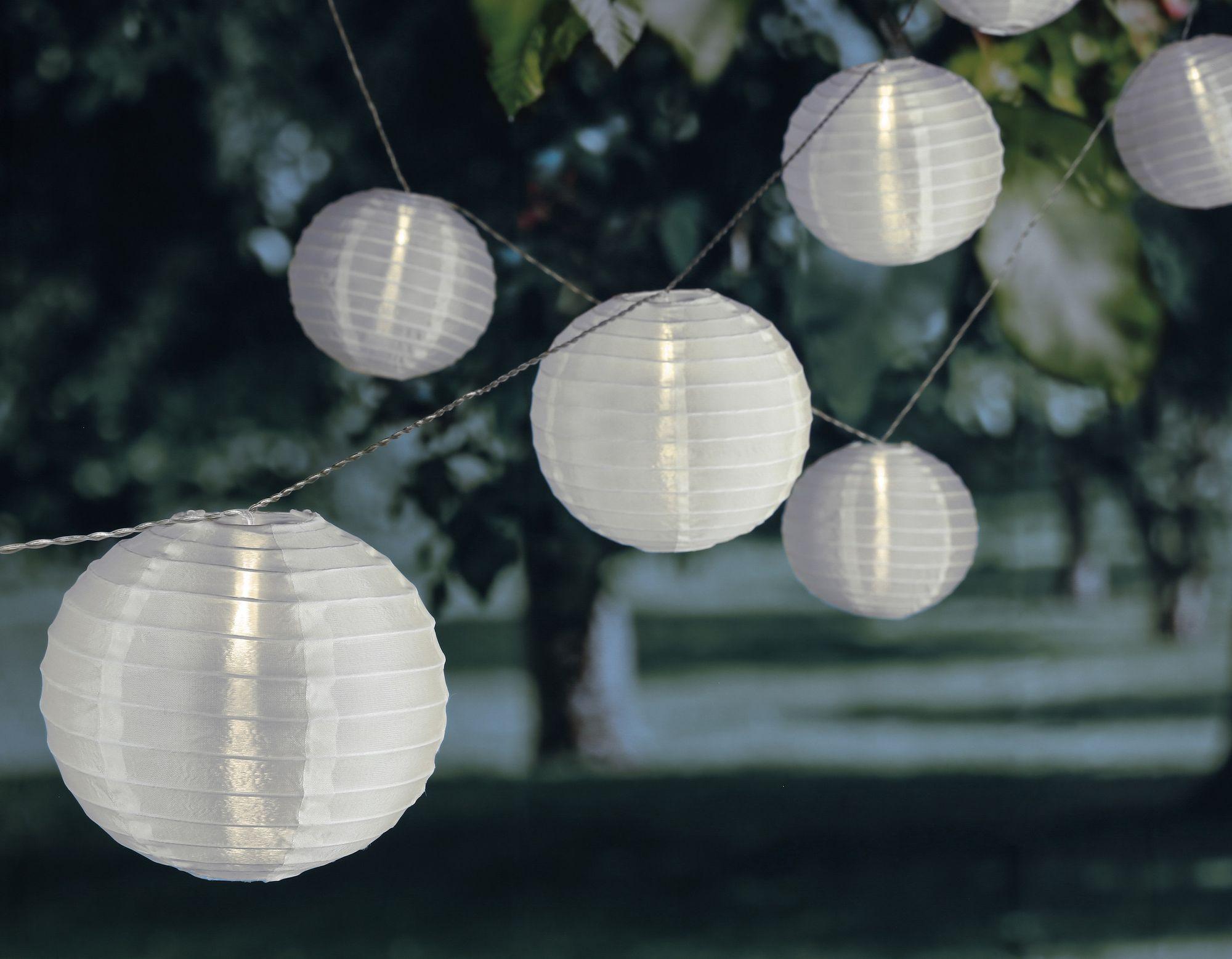 10er-Set XXL 10 m Solar LED Lichterkette Lampionkette Lampions Lampion NEU