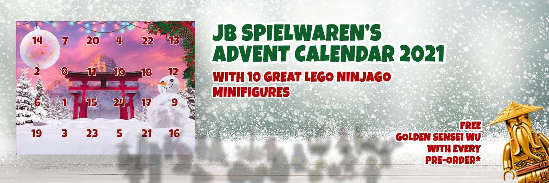 JB Spielwaren's advent calendar with original LEGO Ninjago minifigures build from original LEGO bricks