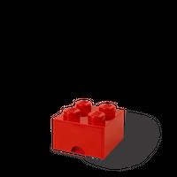 LEGO Aufbewahrungsbox mit Schublade mit 4 Noppen, rot