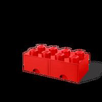 LEGO Aufbewahrungsbox mit Schublade mit 8 Noppen, rot