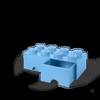 LEGO Aufbewahrungsbox mit Schublade mit 8 Noppen, light blue