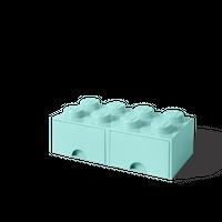 LEGO Aufbewahrungsbox mit Schublade mit 8 Noppen, aqua light blue