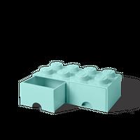 Bild LEGO Aufbewahrungsbox mit Schublade mit 8 Noppen, aqua light blue Vorschau