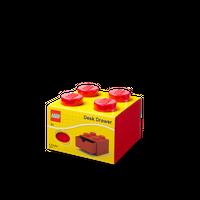 LEGO Schreibtischschublade mit vier Noppen, rot 001