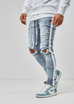EFJ1903 Destroyed Stripe Jeans 1