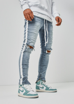 EFJ1903 Destroyed Stripe Jeans 2