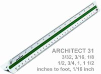 Zoll-Teilung: 3/32, 3/16, 1/8, 1/4, 3/8, 1/2, 3/4, 1, 1 1/2, 3 Inches to foot, 1/16 Inch
