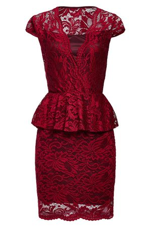 Laeticia Dreams Damen Kleid aus Spitze Kurzarm Knielang Schößchen S M L XL – Bild 7