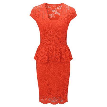 Laeticia Dreams Damen Kleid aus Spitze Kurzarm Knielang Schößchen S M L XL – Bild 2