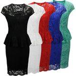 Laeticia Dreams Damen Kleid aus Spitze Kurzarm Knielang Schößchen S M L XL 001