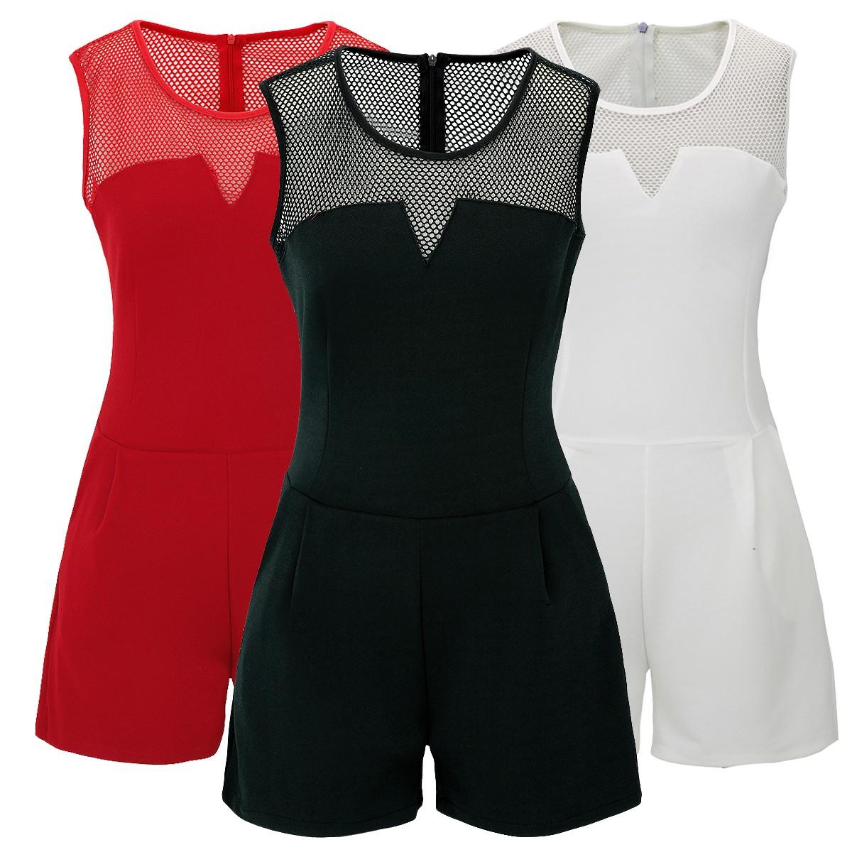 check out 6f2cb 04408 Laeticia Dreams Damen Overall Jumpsuit Catsuit Einteiler Kurz Ärmellos Netz  S M L XL