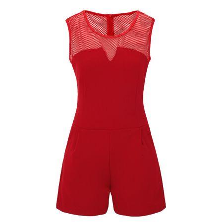 Laeticia Dreams Damen Overall Jumpsuit Catsuit Einteiler Kurz Ärmellos Netz S M L XL – Bild 12
