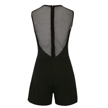 Laeticia Dreams Damen Overall Jumpsuit Catsuit Einteiler Kurz Ärmellos Netz S M L XL – Bild 10