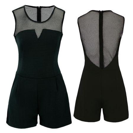 Laeticia Dreams Damen Overall Jumpsuit Catsuit Einteiler Kurz Ärmellos Netz S M L XL – Bild 8