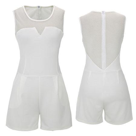 Laeticia Dreams Damen Overall Jumpsuit Catsuit Einteiler Kurz Ärmellos Netz S M L XL – Bild 5