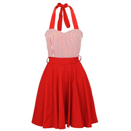 Laeticia Dreams Damen Kleid Neckholder Pin Up Sommerkleid Vintage 50er S M L XL – Bild 6