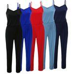 Laeticia Dreams Damen Träger Overall Hose Jumpsuit Catsuit Einteiler S M L XL 001