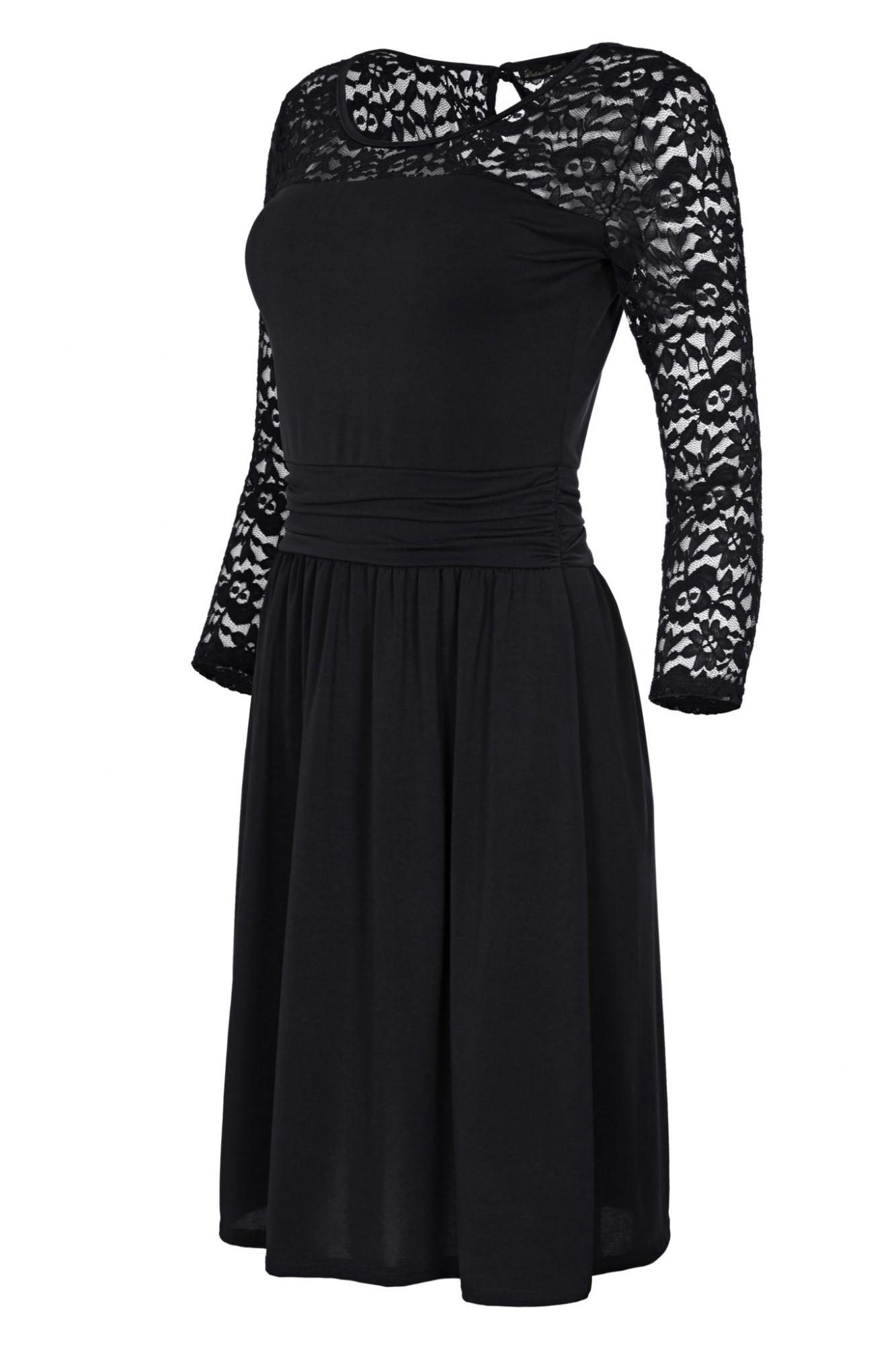 Laeticia Dreams Damen Kleid mit Spitze Knielang Langarm S M L XL