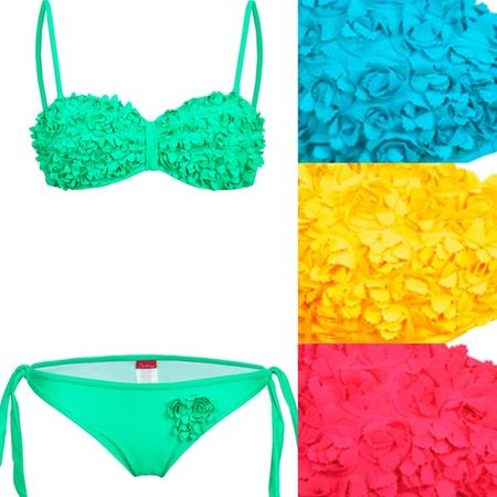 S. K. Push Up Bustier Bikini in Blumenoptik